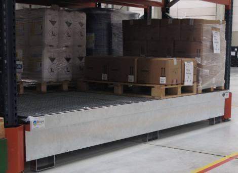 Bac de rétention pour rayonnage 790 litres - BRAG RY3280-1270 Bacs de rétention pour rayonnage
