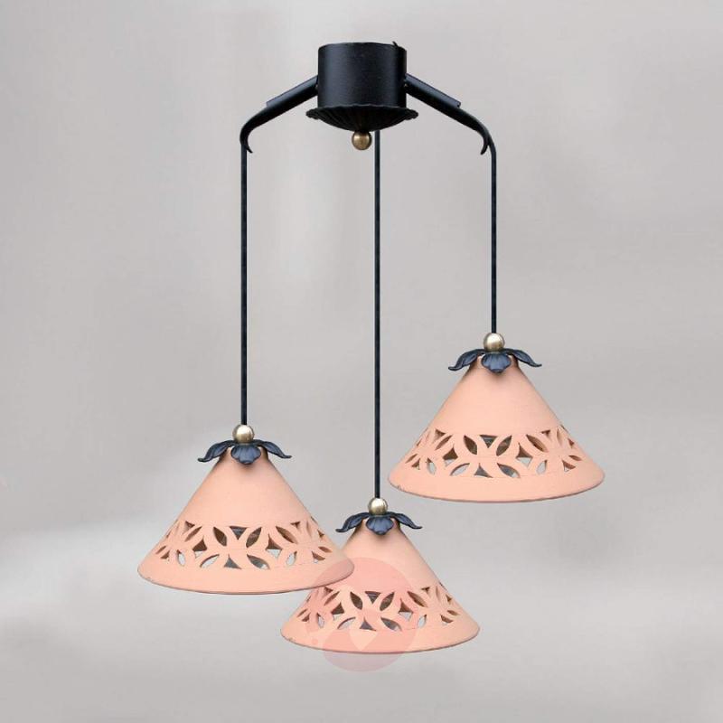 3-light terracotta pendant light Icaro - design-hotel-lighting