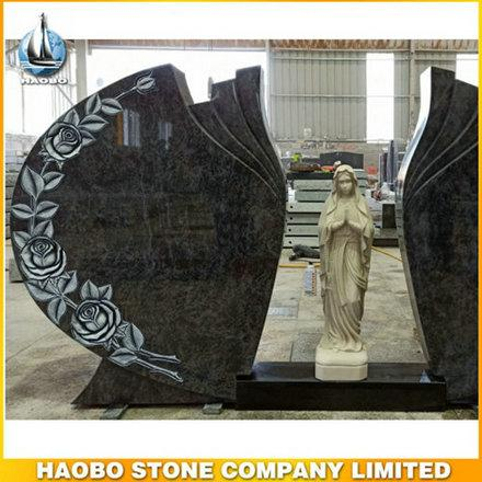 Double Carved Rose Mary Headstone Bahama Blue Granite - Discover this Carved Rose Mary Headstone made in bahama blue granite by Habo.