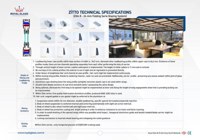 Royal Glass Zitto Folding Glazing System - Zitto 8 - 24 mm Folding Serie Glazing System