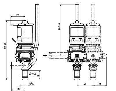 Dispense bank valve, DN 8 - 46.008.x06