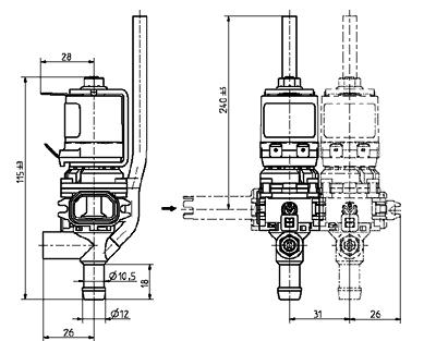 Dispense bank valve, DN 8 - 46.008.x06