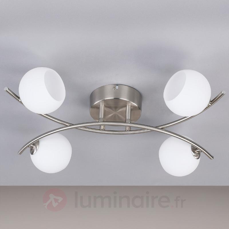 Plafonnier Muriel en verre opale à quatre lampes - Plafonniers LED