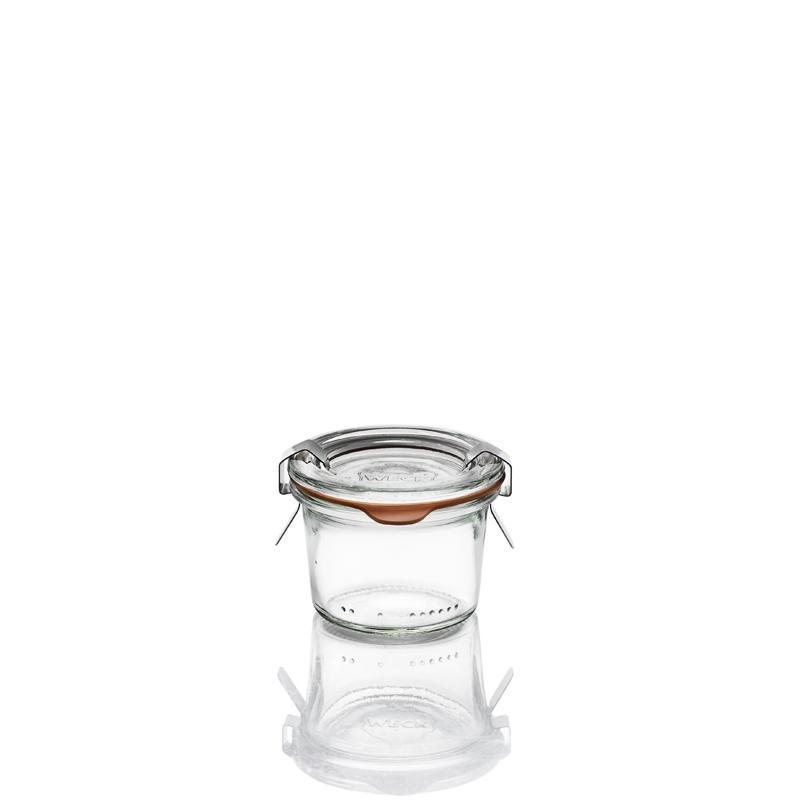 Bocaux Weck DROIT® - 12 Bocaux en verre Weck Droits 80 ml avec couvercle et joint (clips non inclus)