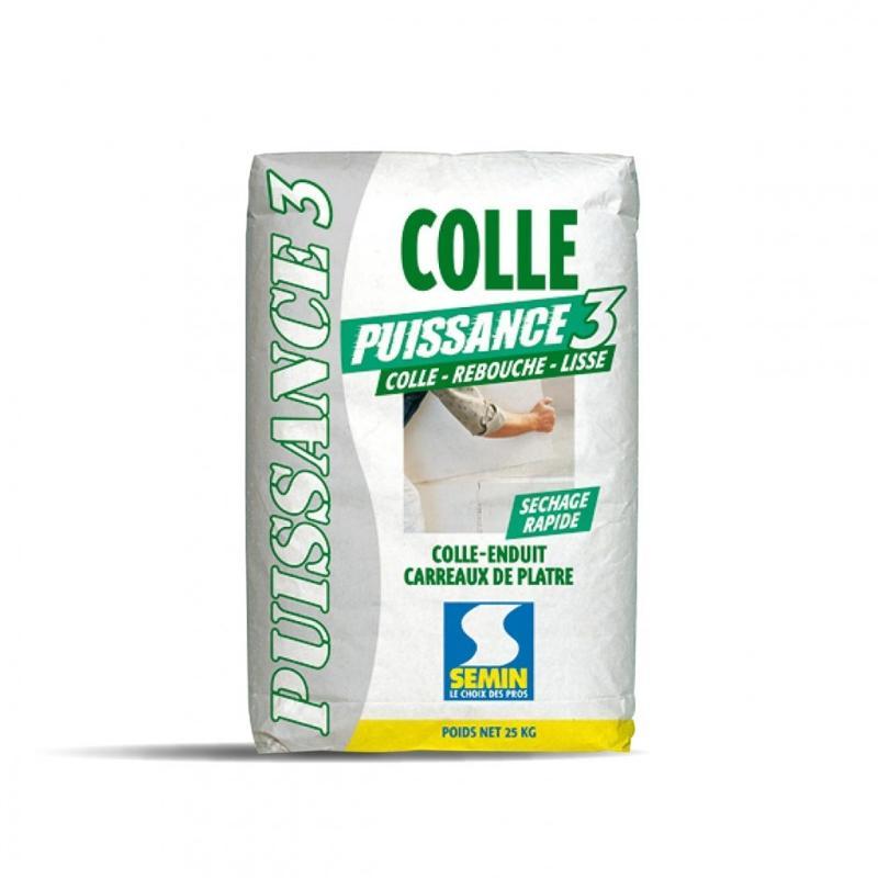COLLE PUISSANCE 3 - Colle-enduit pour carreaux de plâtre et séchage rapide