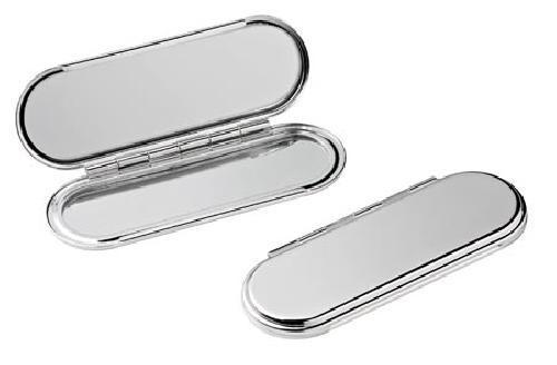 miroir de poche plaqué argent - null