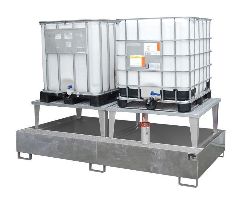 Bac de rétention type ECO-A 2/1000 - Pour un stockage de 2 containers (IBC) de 1000 l, avec rehausse de soutirage