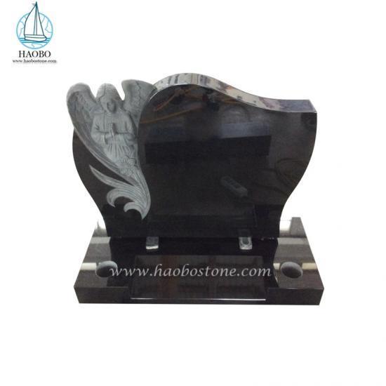 Black Granite Gravestone Guardian Angel Headstone Tombstone For Cemetery - Angel Headstone