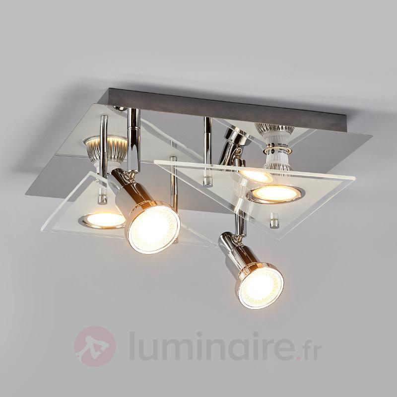 Plafonnier LED à quatre lampes Marty, chromé - Spots et projecteurs LED