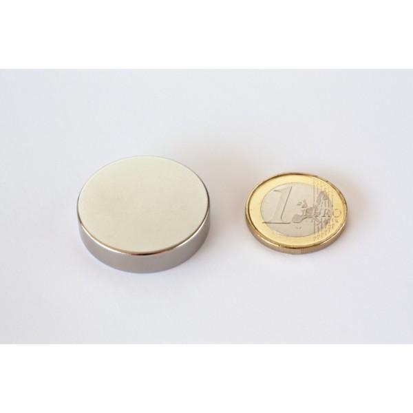 Neodymium disc magnet 30x7mm, N45, Ni-Cu-Ni, Nickel coated - Disc
