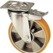 Roulettes pivotantes polyuréthane jante aluminium -
