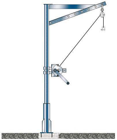 Grúa giratoria 250 kg - Grúa giratoria, galvanizada o acabada en acero inoxidable, 250 kg, 1400-2000 mm