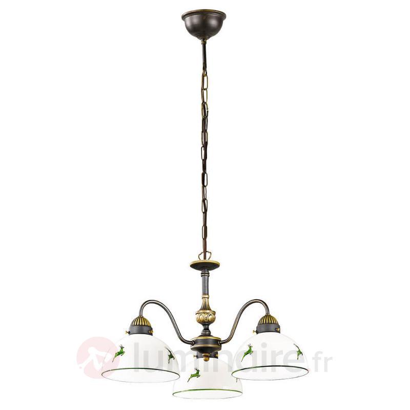 Lustre à 3 lampes Nonna blanc vert - Suspensions rustiques