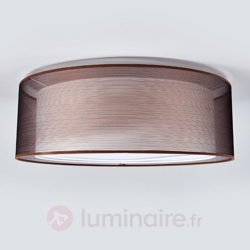 Plafonnier textile Nica en brun - Plafonniers en tissu