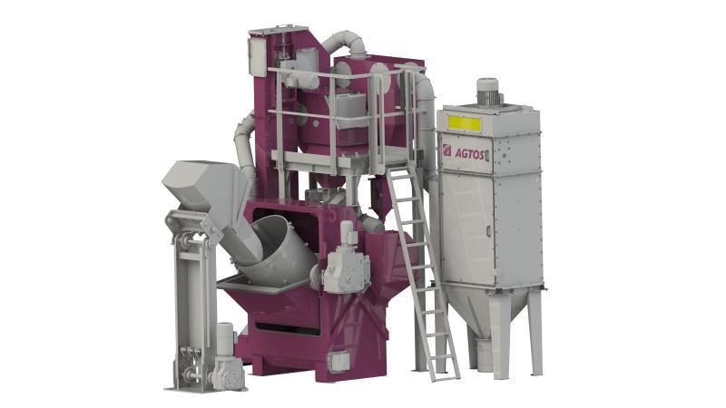 Drum blast machine - Drum blast machine for treating bulk material