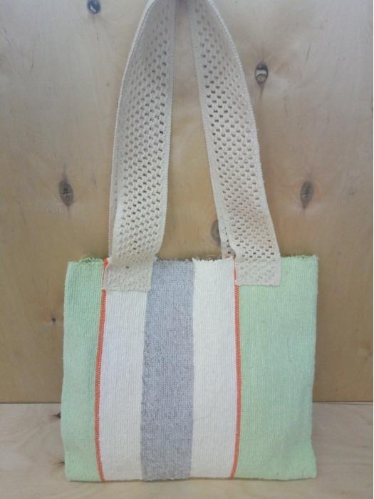Handwoven rag tote  bag. - 100% handmade! Eco style! Designer style!
