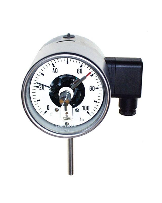 Gas expansion thermometer NS 100/160, switch function - Gas expansion thermometer NS 100/160, switch function, bottom or back connection