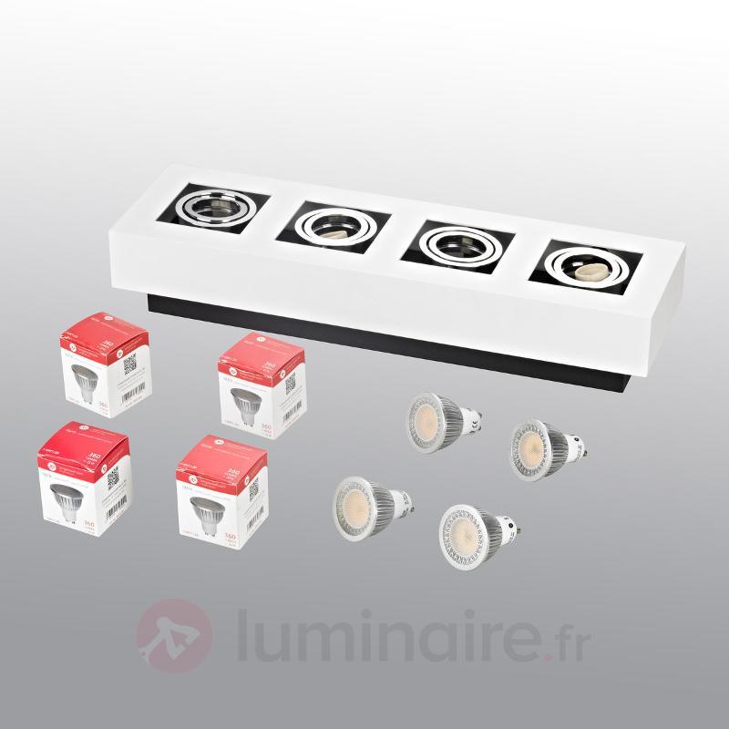 Plafonnier LED oblong Vince à quatre lampes, blanc - Plafonniers LED