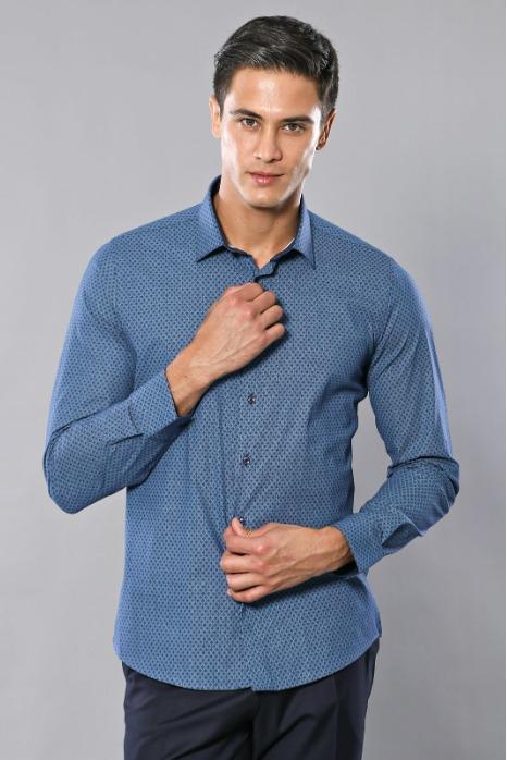 Desenli Mavi Uzun Kollu Gömlek - Desenli Mavi Uzun Kollu Pamuk Gömlek