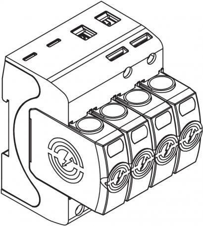 Combination arrestor V50, 3-pole + NPE 280 V - Combination arrestor V50, 3-pole + NPE 280 V  for buildings of class III and IV.
