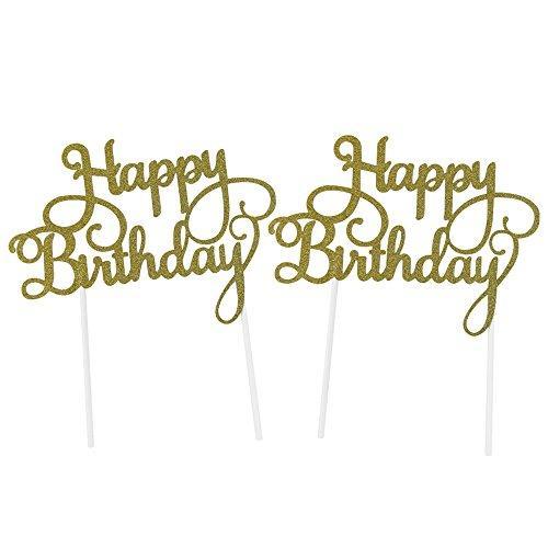 """Taartdecoratie """"Happy Birthday"""" - diverse cupcake/taarttoppers en taartprikkers"""