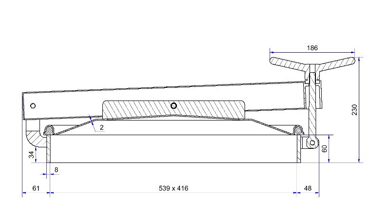 Porte rectangulaire ouverture extérieure - Porte rectangulaire 539 x 416 mm horizontale à 1 bras - H05-312-80