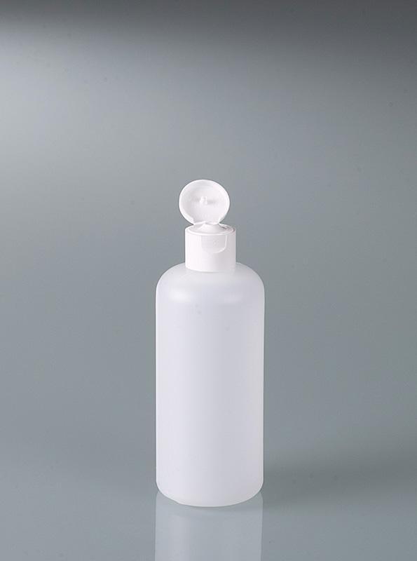Rundflaschen mit Klappverschluss - Plastikflasche, Verpackung, HDPE transparent