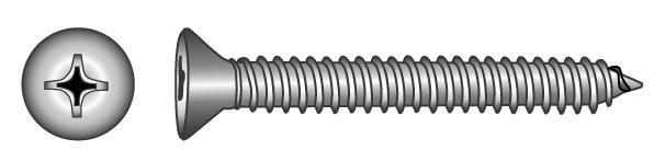 Senk-Blechschrauben (Form C mit Spitze) - Material A2 | A4