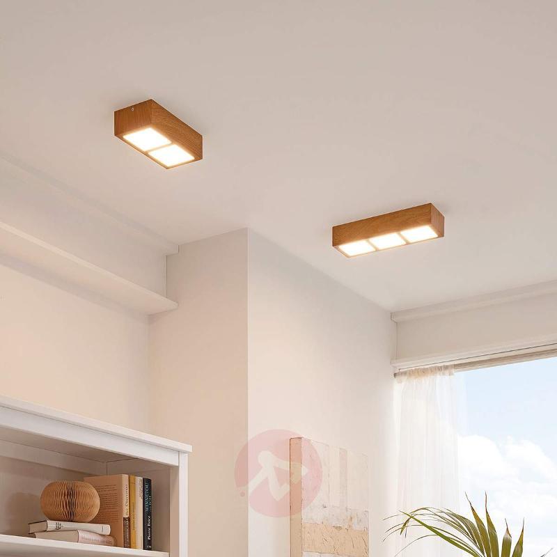 Oak-coloured Colegio LED ceiling light - 3-bulb - Ceiling Lights