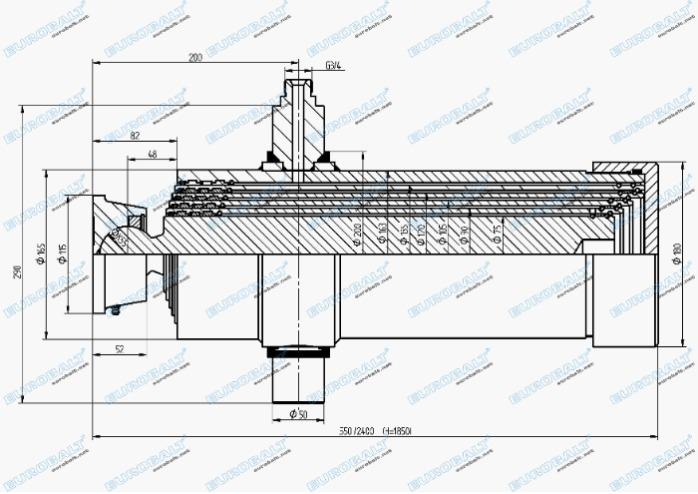 Telescopic five-stage cylinder (piston stroke: 1850 mm) - Telescopic five-stage cylinder HC000911
