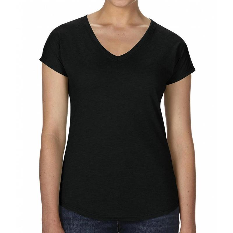 Tee-shirt femme col V Tri-Blend - Manches courtes