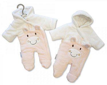 Gefütterter Baby Schneeanzug - Giraffe - Rosa -