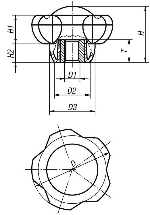 Bouton aster - Poignées et boutons