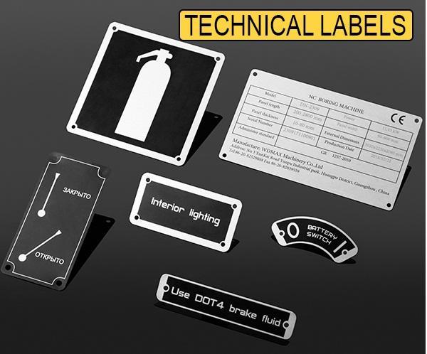 Anodized aluminum technical labels - industrial labels, labels for equipment, machine labels, metal labels,