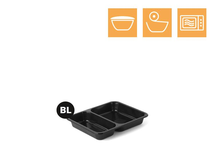 PP tray, 2-comp - Microwave trays