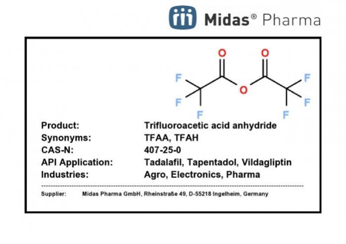 Trifluoroessigsäureanhydrid - 407-25-0; TFAA; TFAH; Building Block für Tadalafil, Tapentadol, Vildagliptin