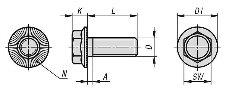 Vis H à embase cylindro-tronconique avec dents - Éléments de liaison