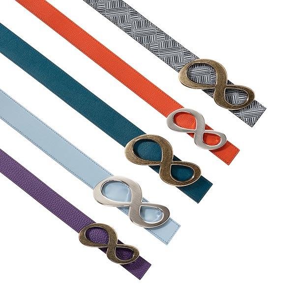 Customized Reversible Leather Belts Made in France - Reversible leather belts with solid Infinity belt buckle