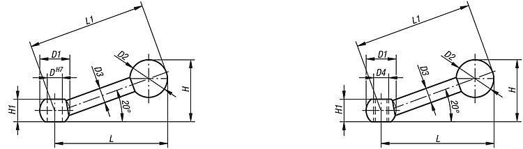 Poignée à boule DIN 6337 - Leviers de blocage, manettes indexables