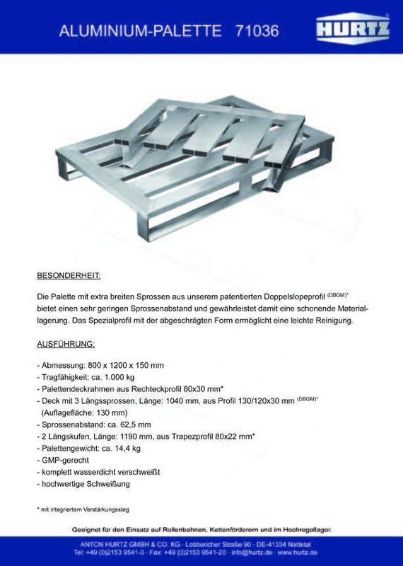 Typ 71036 - Hurtz Aluminiumpaletten - Euroformat