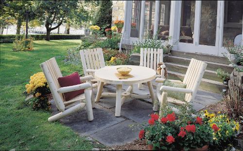 Ensemble salon de jardin en bois, Fauteuil RONDINS et table ...