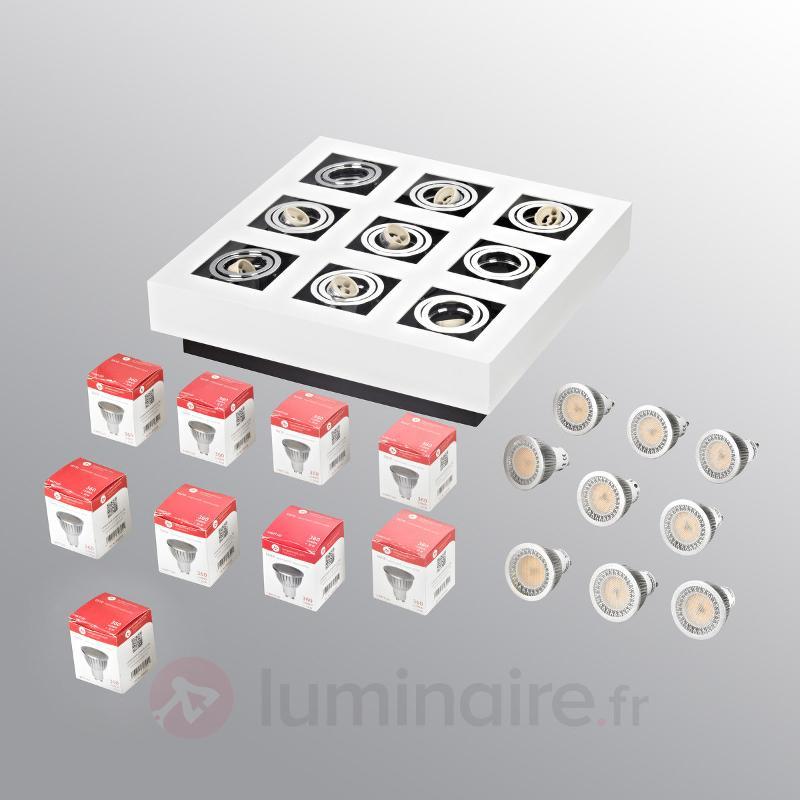 Plafonnier LED Vince lumineux à 9 lampes - Plafonniers LED
