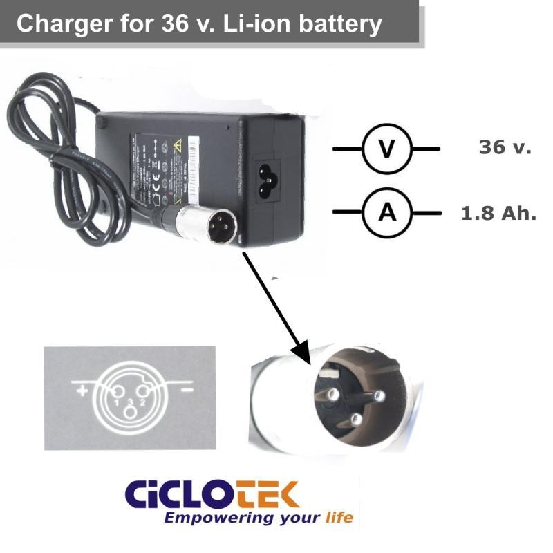 Cargador para batería de litio de 36v. tipo Swing - Ciclotek