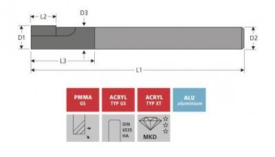 Milling Tools: for PMMA- and PC-plastics - MCD circumference milling cutter