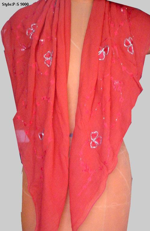 Embroidered Georgette Scarves - Custom Development |