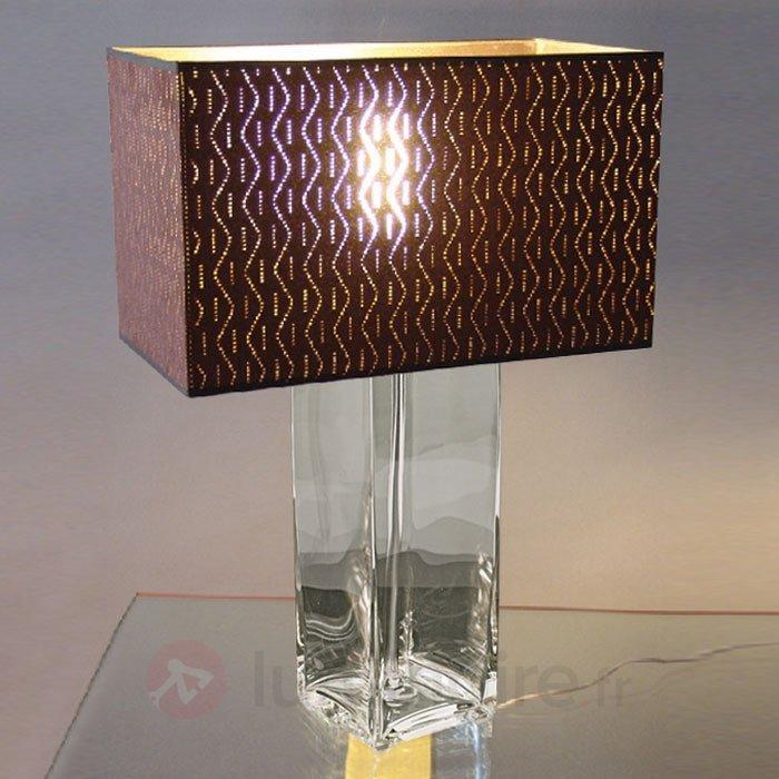 Lampe à poser marron ANNIKA pied transparent - Lampes à poser en tissu