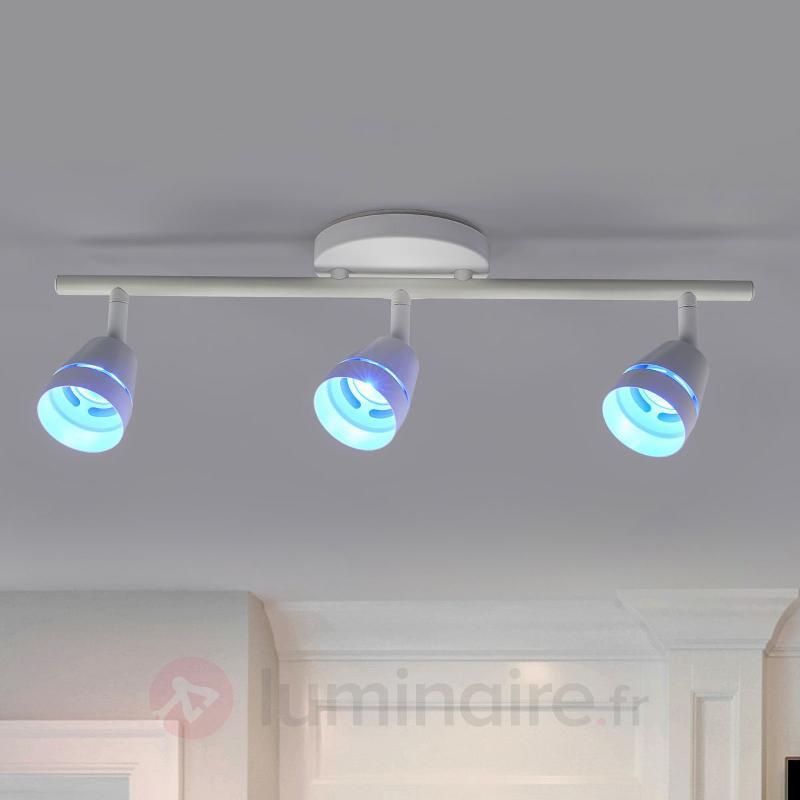 Plafonnier LED Ivory à trois lampes, télécommande - null