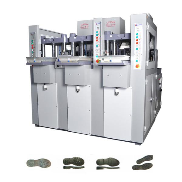 3 STATIONS, 1 COLOR SHOE SOLE INJECTION MOULDING MACHINE - 3 STATIONS, 1 COLOR PVC-THERMOLASTIC-TPU SOLE INJECTION MOULDING MACHINE