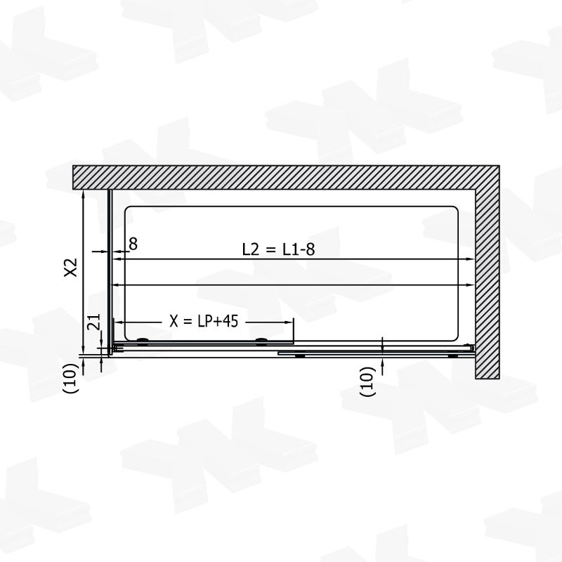 Corner shower with two fixed parts, 1200-1800 mm - Fittings for sliding doors