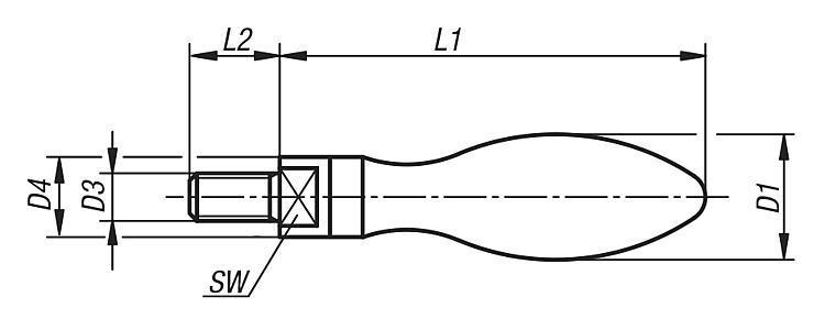 Poignée tournante similaire DIN 98, en acier - Volants, manivelles et poignées